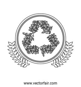 monochrome silhouette circle with decorative olive branch and ornament leaves recycling symbol