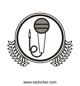 black contour circle with decorative olive branch and microphone