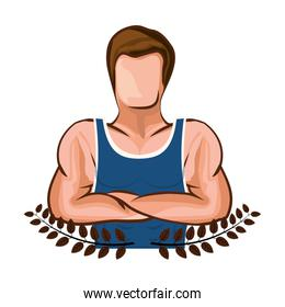 crown leaves with half body muscle man with crossed arms