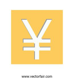 yellow square shape with currency symbol of china