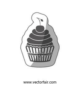 sticker grayscale silhouette with cupcake and cherry