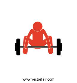 pictogram colorful with man weightlifting down