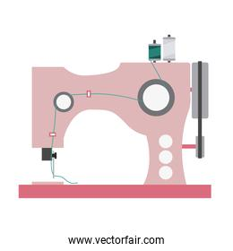 color silhouette with sewing machine