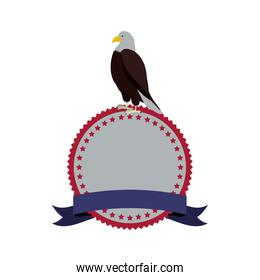stamp with label and eagle standing