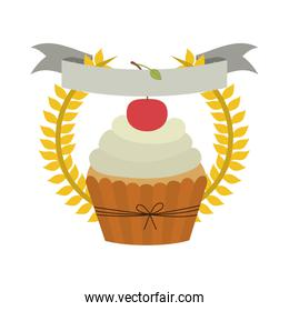 crown of leaves with cupcake with cream and cherry