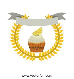 crown of leaves with cupcake with cream and lemon