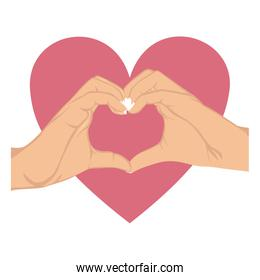 hands in shape of heart in symbol support breast cancer and big heart