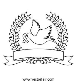 symbol dove with breast cancer ribbon icon