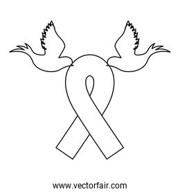 emblem breast cancer ribbon with doves