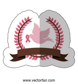 fuchsia symbol dove with breast cancer ribbon