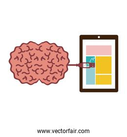 tablet and usb connected to brain
