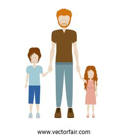 color silhouette with kids and dad with redhead