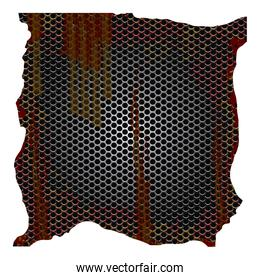 dirty and rusted metallic grill perforated