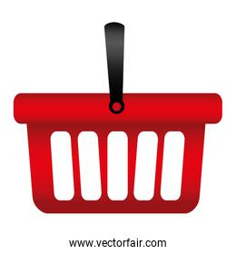colorful silhouette with shopping basket with one handle