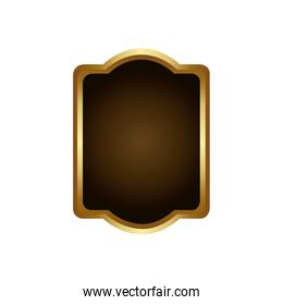 golden border with decorative heraldic rounded rectangle frame design