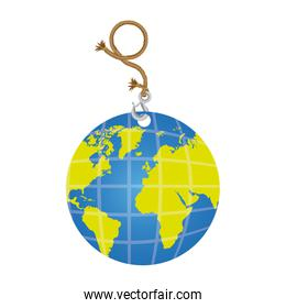 color planet earth hanging rope icon