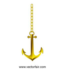 gold anchor hanging icon image