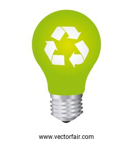 color silhouette with light bulb with recycling symbol