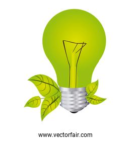 color silhouette with light bulb and leaves