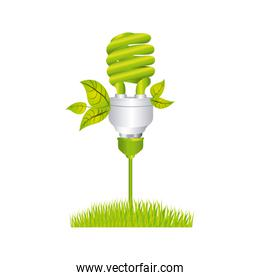 color silhouette with spiral fluorescent lamp with leaves and grass