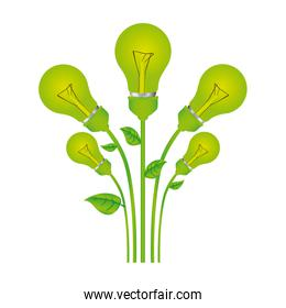 color background with set of bulb light with stem and leaves