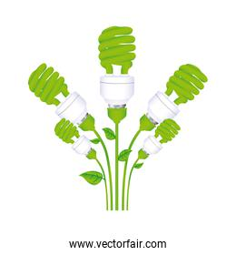 color background with set of spiral fluorescent lamp with stem and leaves