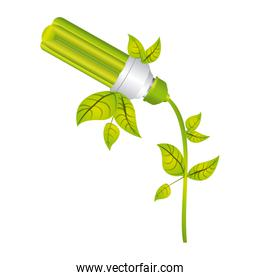 color silhouette with fluorescent lamp with leaves and inclined to left side