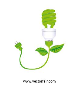 dark green silhouette with spiral fluorescent lamp with leaves and plug