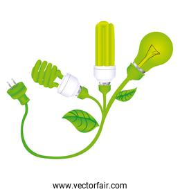 color silhouette with lamps with leaves and plug