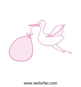 pink stork with bag icon