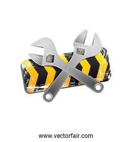yellow caution ribbon with wrench emblem