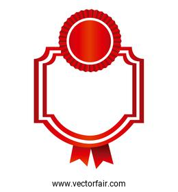 red emblem with ribbon decoration icon