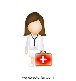 woman doctor with suitcase icon