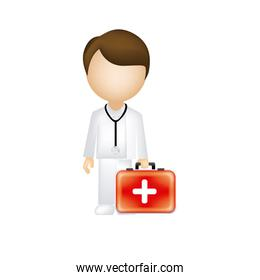 man doctor with suitcase icon