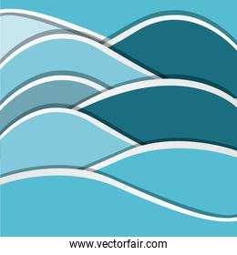 color abstract silhouette of sea waves