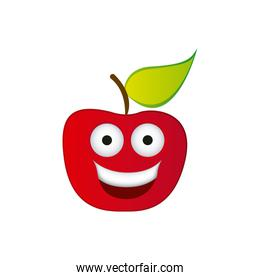 color red kawaii fruit apple happy icon
