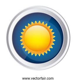 color circular frame and blue background with sun close up