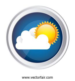 color circular frame and blue background with cloud and sun