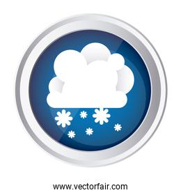 color circular frame and blue background with cumulus of clouds and snow fall