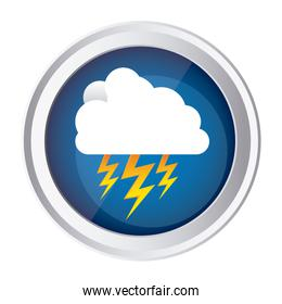 color circular frame and blue background with cloud with lightnings