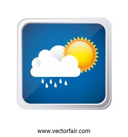 color square frame and blue background with cloud with rain and sun