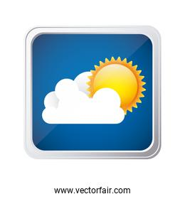 color square frame and blue background with cloud and sun