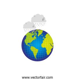 earth planet with clouds rainning icon