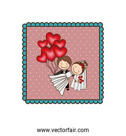 emblem married couple with red heart bombs