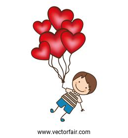 boy with red heart balloons in the hands