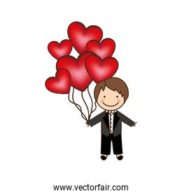 bridegroom with red heart balloons in his hand