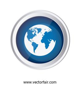 blue emblem earth planet icon