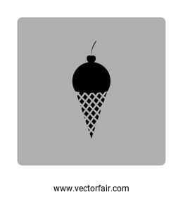 gray square frame with silhouette ice cream