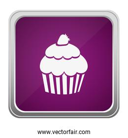 violet square button relief with silhouette cupcake