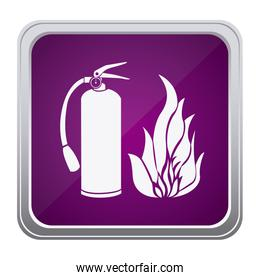 purple emblem extinguisher with fire icon
